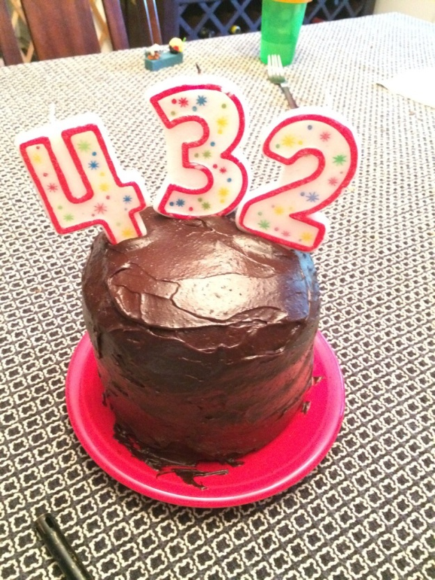 He's not actually 432 years old, but I didn't have a 5 candle, so we improvised!
