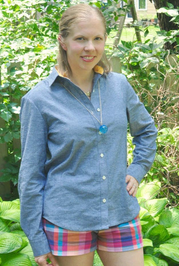 Grainline's Archer Shirt sewn up in chambray by Katie @ Creative Counselor for Back 2 Basics week