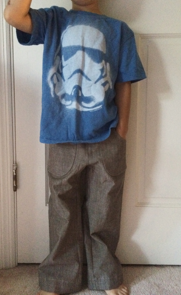 Parsley Pants in brown chambray sewn by Katie @ Creative Counselor for Summer 2014 Kids Clothes Week (KCW)