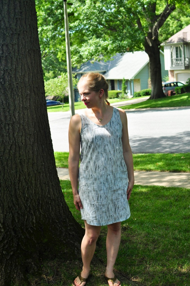 Comfy Eucalypt Dress in Liberty tana lawn sewn by Katie @ www.creative-counselor.com